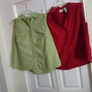 Two tailored tank tops green and red